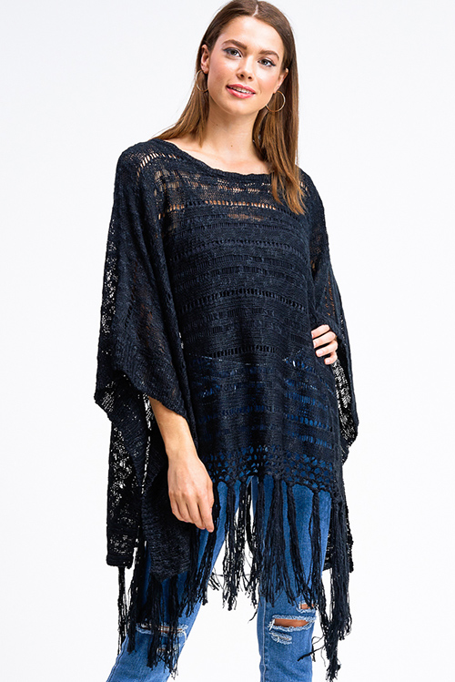 Cute cheap Black crochet knit tassel fringe hem boho poncho jacket top