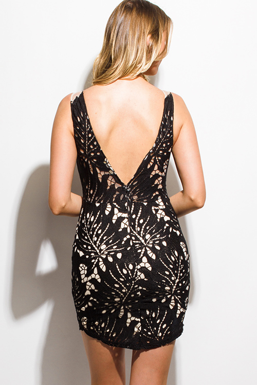 Cute cheap black crochet lace sheer mesh open back bodycon fitted cocktail party mini club dress