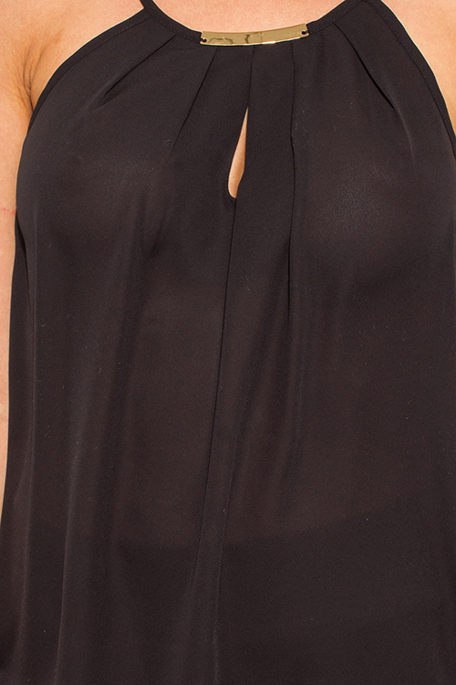 Cute cheap black cut out embellished halter racer back party tank top