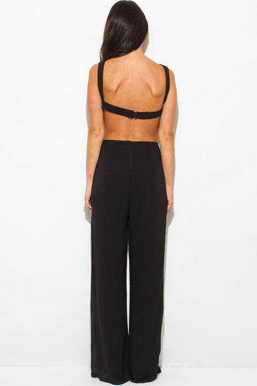 Cute cheap black cut out open back wide leg evening party backless jumpsuit