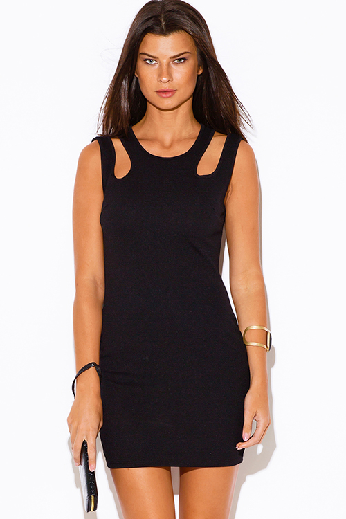 Cute cheap black cut out cold shoulder clubbing fitted party mini dress