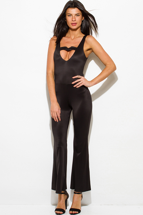 Shop black cut out sweetheart backless wide leg evening cocktail ...