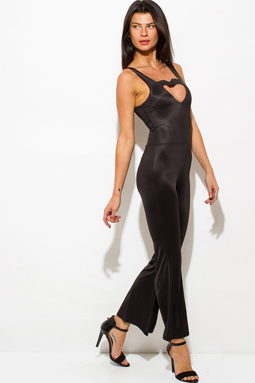 Cute cheap black cut out sweetheart backless wide leg evening cocktail party jumpsuit
