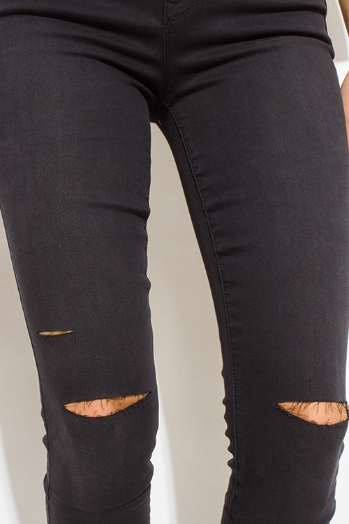 Cute cheap black denim mid rise ripped knee skinny fit ankle jeans
