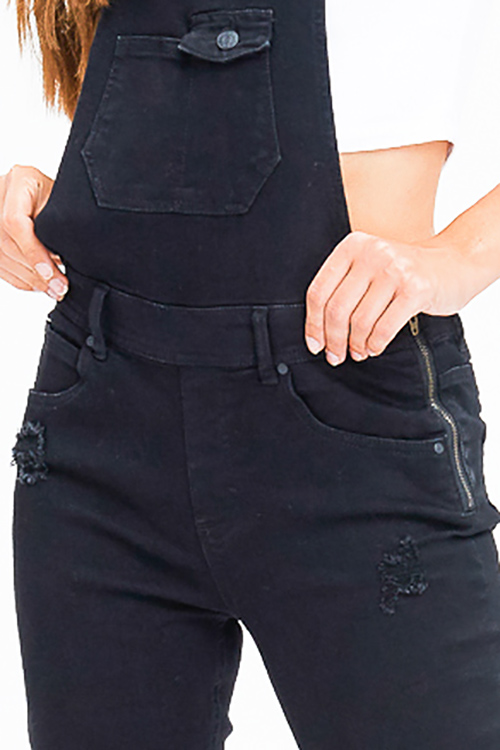 Cute cheap black denim skinny jeans rolled hem zip up cross back pocketed boho overalls jumpsuit