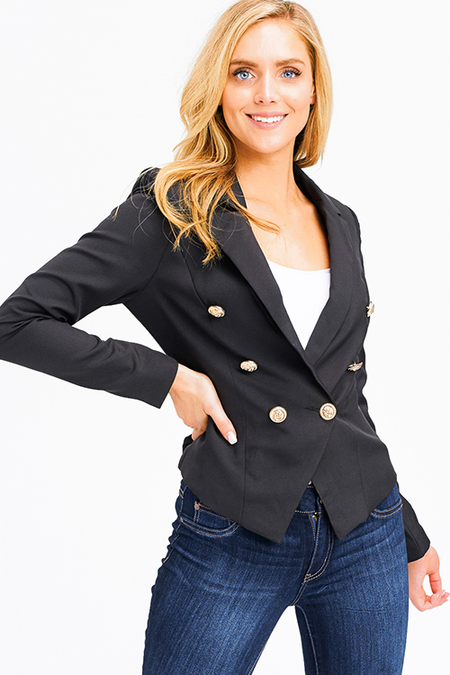 c27e7b8cc0bdd Cute cheap black double breasted long sleeve golden button fitted blazer  jacket