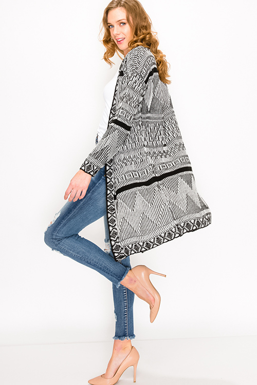 Cute cheap Black ethnic print long sleeve open front boho duster sweater cardigan