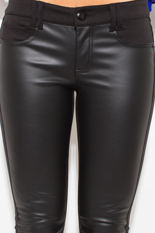 Cute cheap black faux leather panel ponte knit mid rise fitted skinny pants