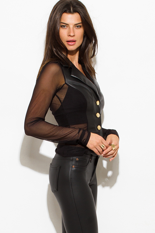 Cute cheap black faux leather sheer mesh contrast golden button long sleeve fitted blazer jacket