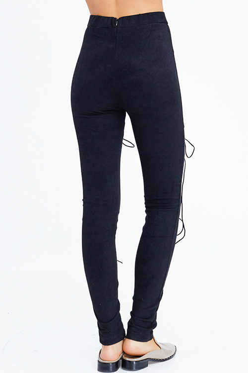 Cute cheap black faux suede high waisted laceup zipper back leggings skinny pants