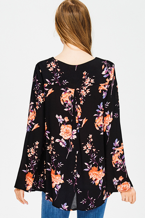 Cute cheap black floral print cut out mock v neck long trumpet bell sleeve boho blouse top