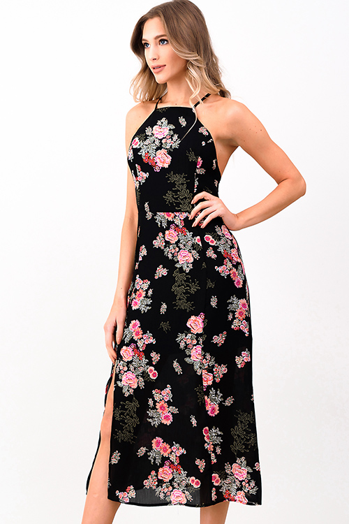 Cute cheap Black floral print halter criss cross backless slit boho party midi sun dress