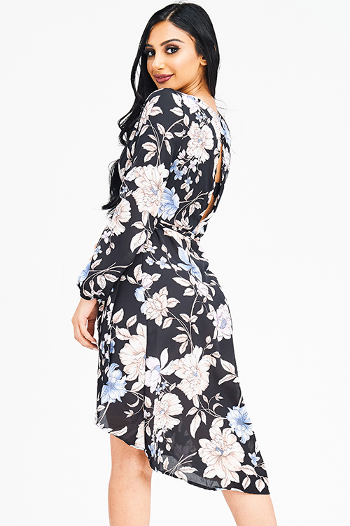 Cute cheap black floral print long sleeve tie waist cut out back boho wrap midi dress