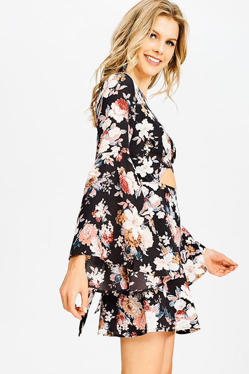 Cute cheap black floral print long trumpet bell sleeve cut out a line boho party mini dress