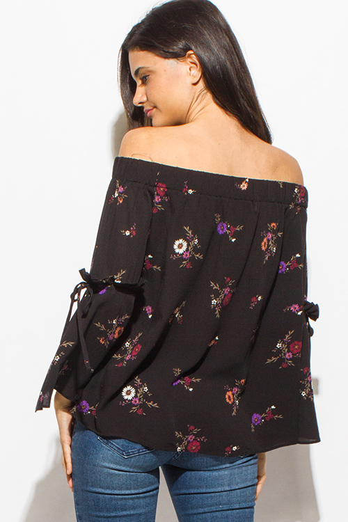 Cute cheap black floral print off shoulder long bell sleeve boho top
