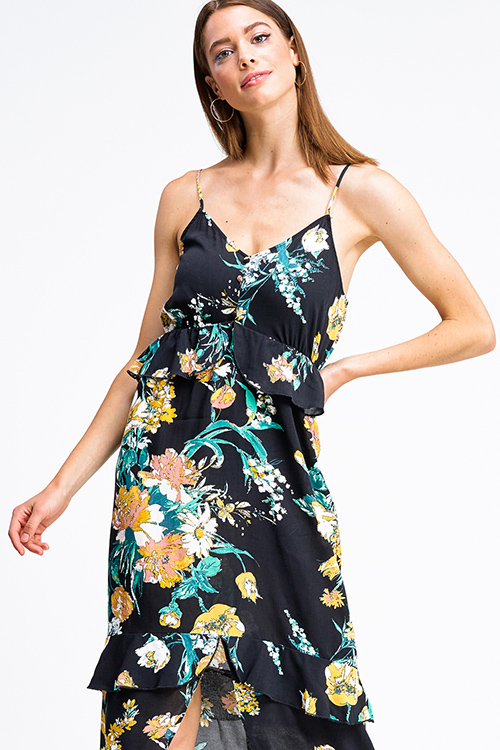 Cute cheap Black floral print sleeveless v neck ruffle tiered front slit boho maxi sun dress