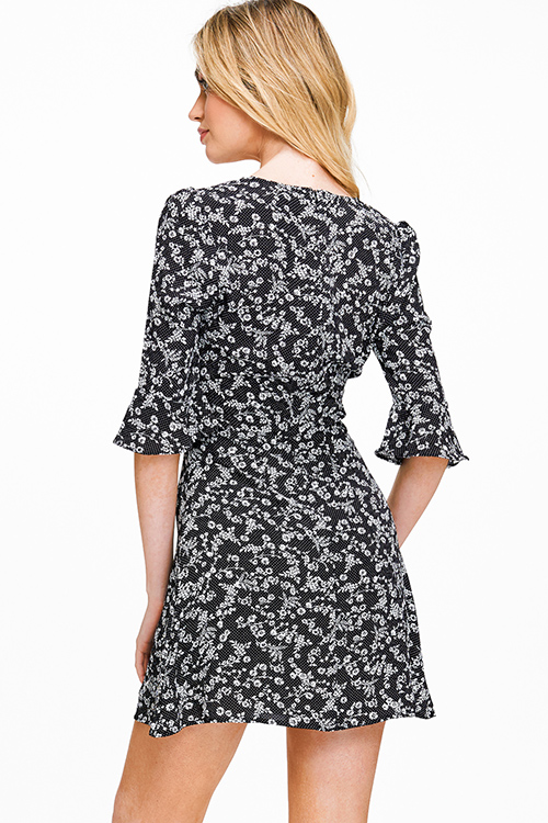 Cute cheap Black floral print v neck ruffle bell sleeve a line cocktail party mini dress