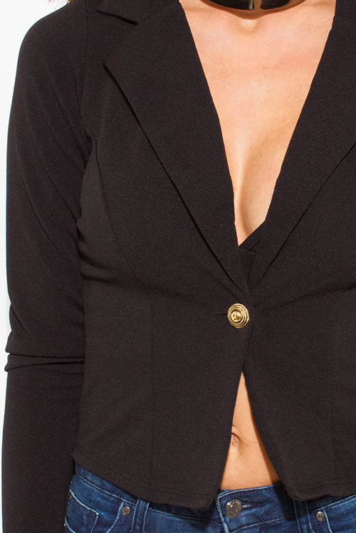 Cute cheap black golden button fitted long sleeve high low hem tuxedo blazer jacket