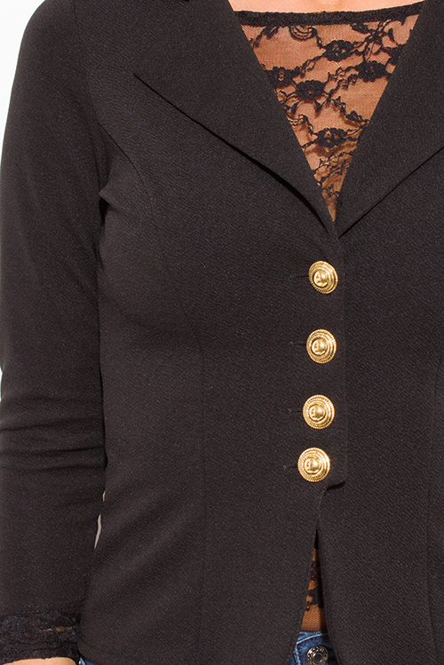 Cute cheap black golden button quarter sleeve fitted blazer jacket top
