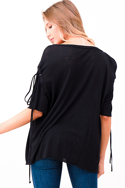 Cute cheap Black graphic print eyelet laceup short sleeve boat neck tee shirt top