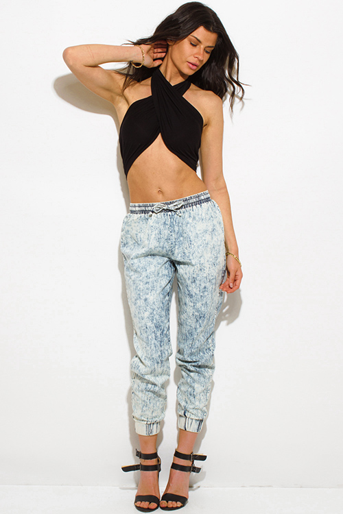 Cute cheap black halter wrap clubbing crop top