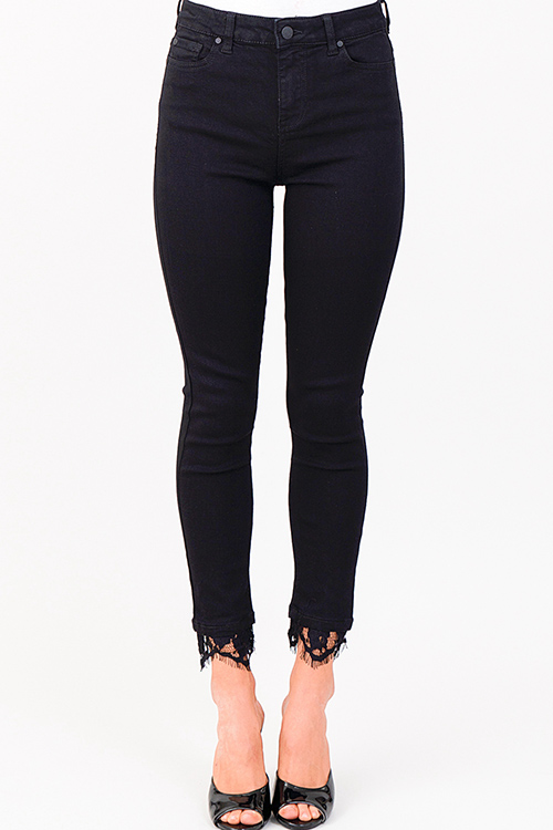 Cute cheap Black high rise denim lace hem boho fitted skinny jeans