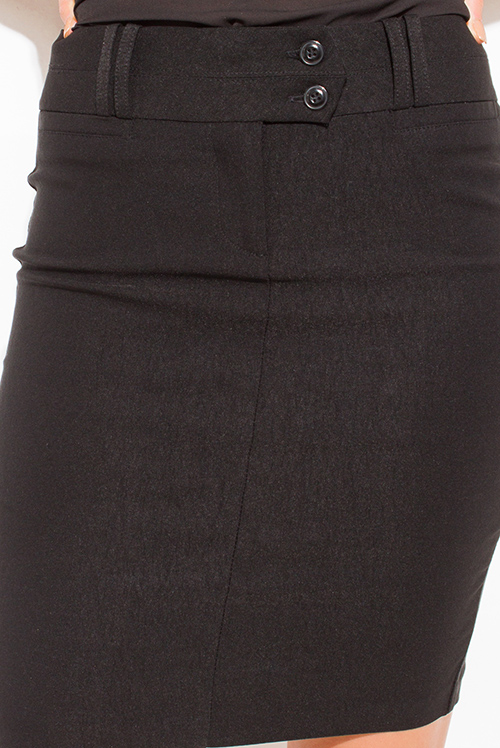 Cute cheap black high waisted double loop fitted suiting midi pencil skirt