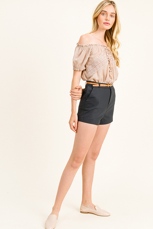 7d2dd19557 Cute cheap Black high waisted pocketed belted tailored chino shorts