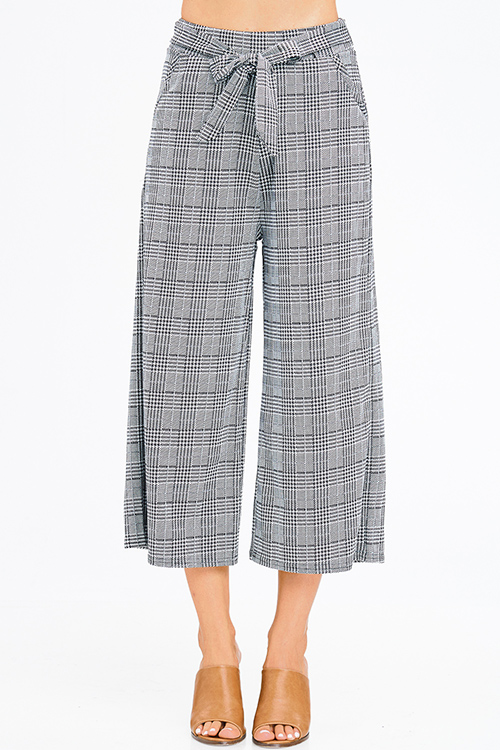 Cute cheap black houndstooth knit tie high waist pocketed trouser boho wide leg culotte pants