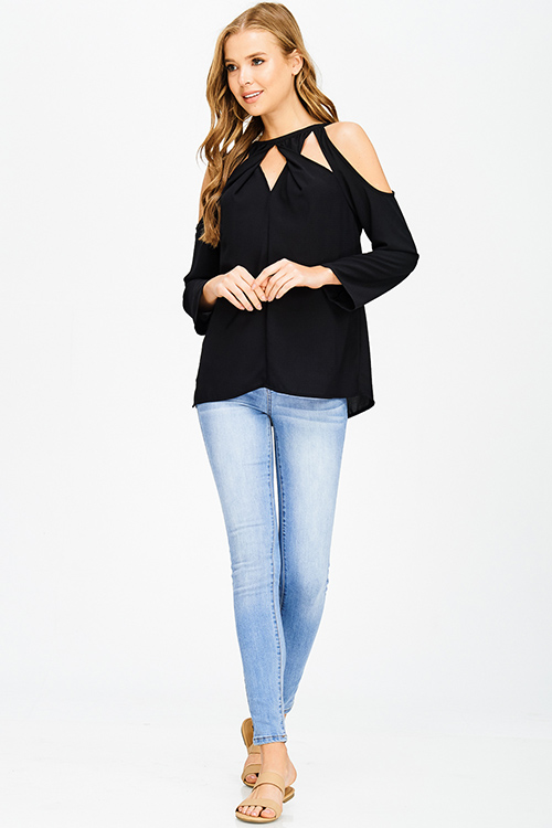 Cute cheap black houndstooth textured cut out twist knot cold shoulder long sleeve boho blouse top