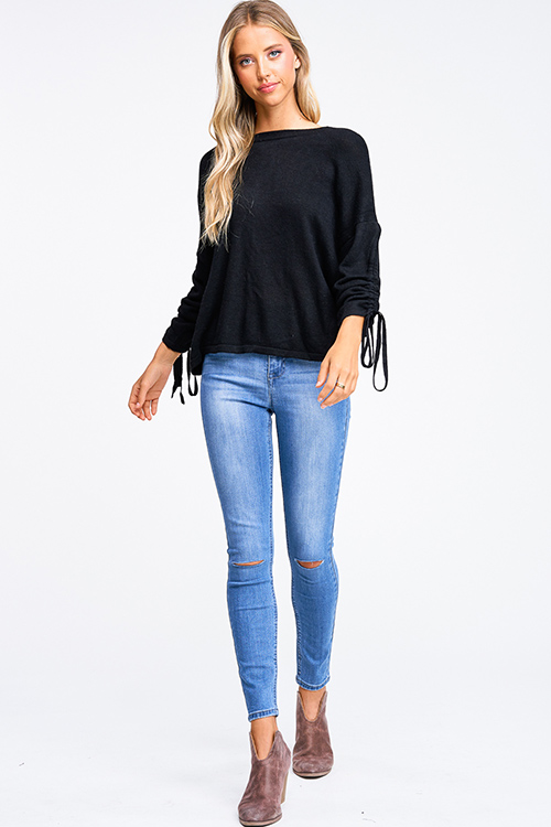 Cute cheap Black knit drawstring ruched long sleeve twist knotted open back boho sweater top
