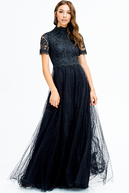 Cute cheap black lace bodice mock neck short sleeve tulle a line formal ball gown evening party dress