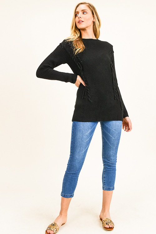 Cute cheap Black laceup front long sleeve boho sweater knit top