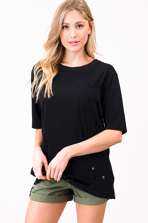 Cute cheap Black laser cut destroyed zip up side short sleeve tee shirt top