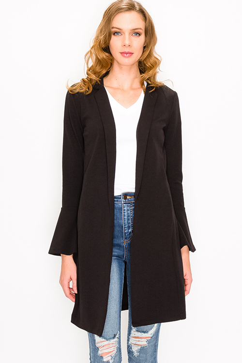 Cute cheap Black long bell sleeve open front pocketed boho duster blazer cardigan