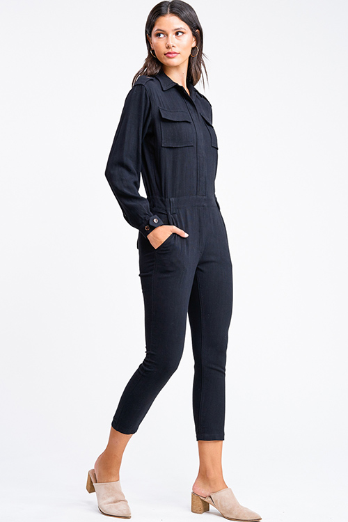 Cute cheap Black long sleeve button up belted tapered leg coverall cargo utility jumpsuit