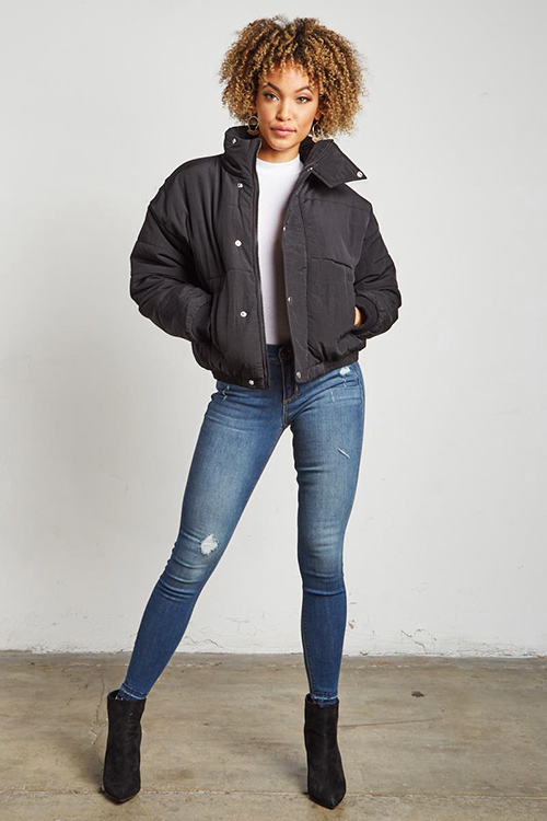Cute cheap black long sleeve button up cropped puffer bomber down jacket