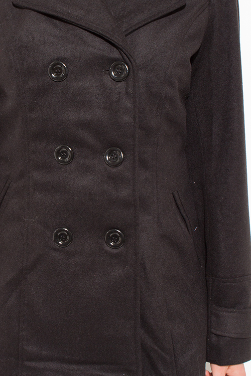 Cute cheap black long sleeve double breasted pocketed peacoat jacket