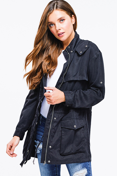 Cute cheap Black tencel long sleeve drawstring waist button up zip up hooded anorak trench coat jacket