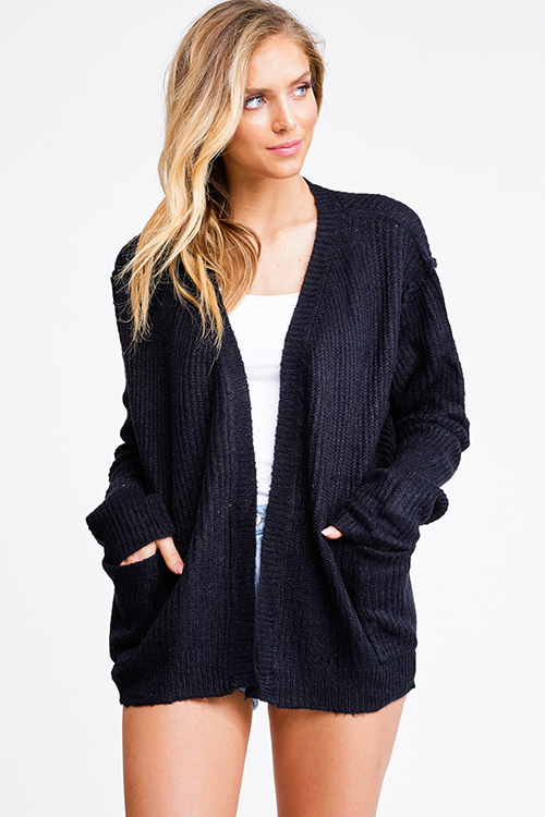 Cute cheap Black long sleeve exposed stitch pocketed open front sweater cardigan