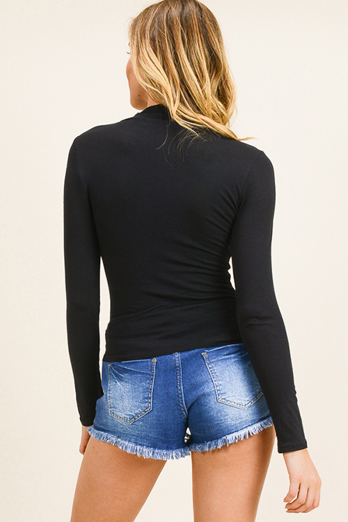 Cute cheap Black long sleeve fitted mock neck basic knit top