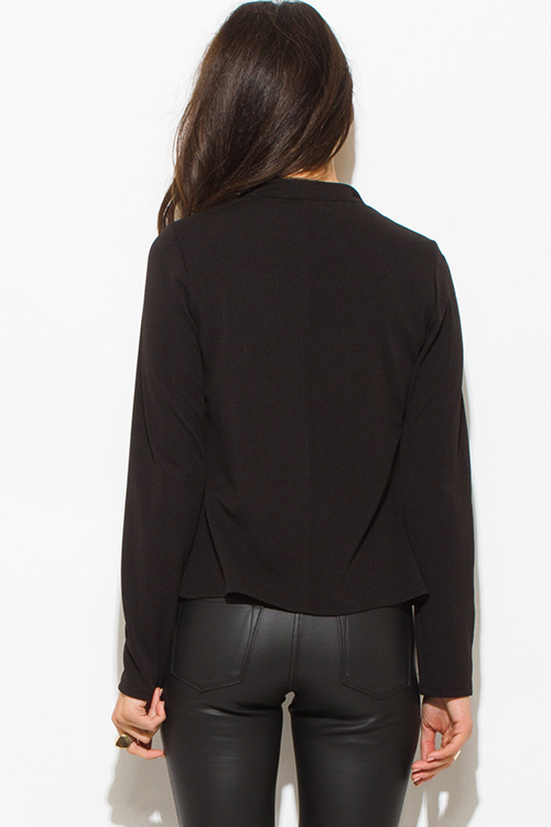 Cute cheap black long sleeve open front zipper pocket fitted blazer jacket
