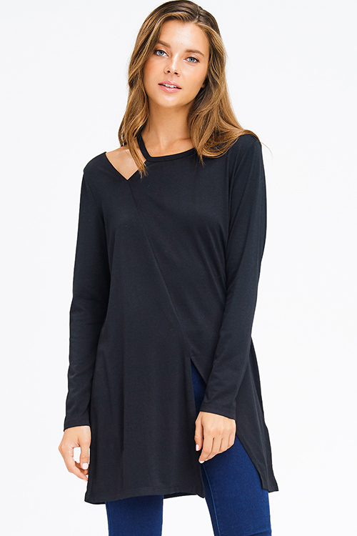 Cute cheap black long sleeve shoulder cut out slit tunic top mini dress