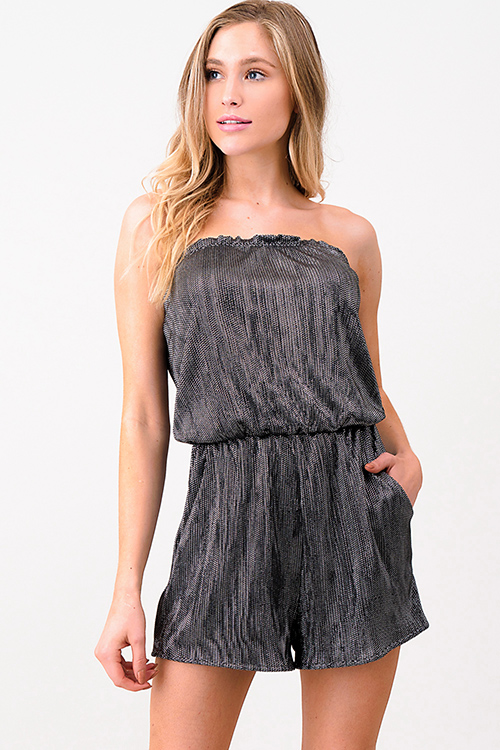 Cute cheap Black metallic micropleat strapless pocketed club romper jumpsuit