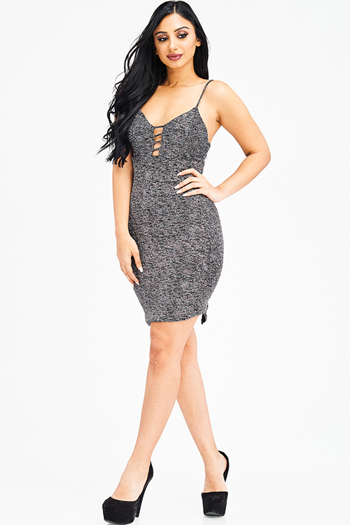 Cute cheap black metallic shimmer cut out caged sleeveless bodycon fitted club mini dress