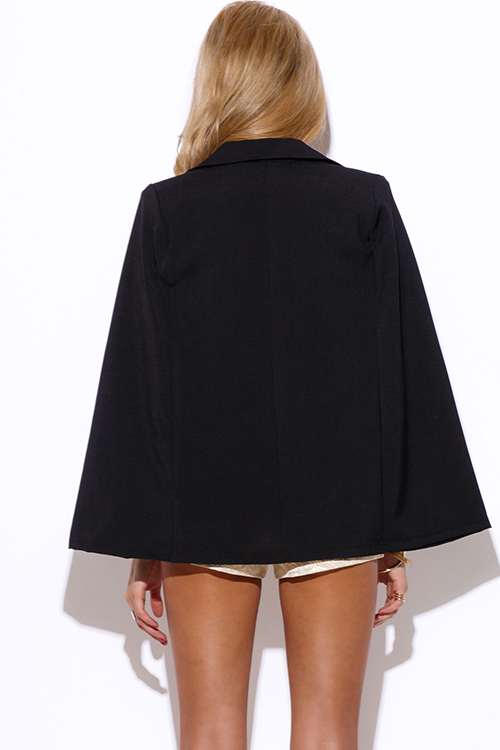 Cute cheap black military button cape jacket suiting blazer top