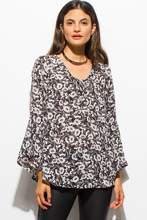 Cute cheap black multicolor floral print laceup bell sleeve boho blouse top