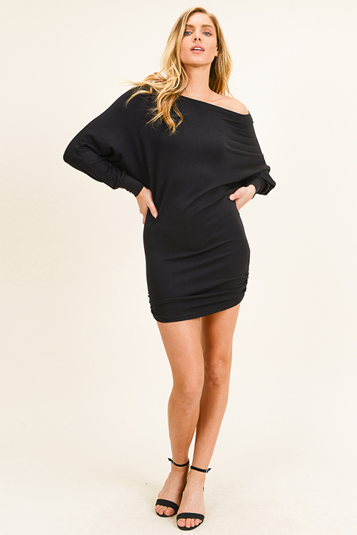 Cute cheap Black off shoulder long dolman sleeve ruched fitted club mini dress