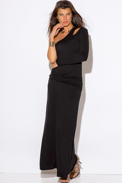 Shop black one shoulder cut out sleeve ruched fitted evening maxi ...