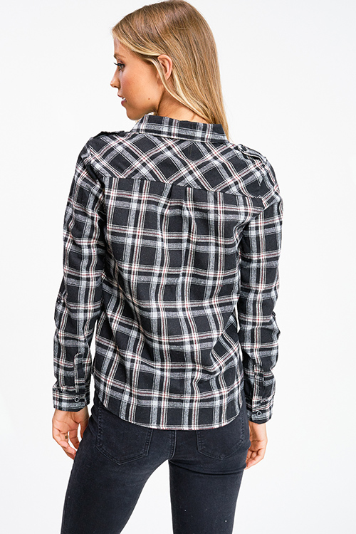 Cute cheap Black plaid flannel long sleeve button up blouse top
